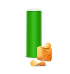 Box container tube with stack of potato chips vector