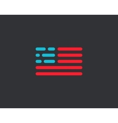 Code american flag logo design usa patriot tech vector
