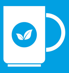 Cup of tea icon white vector