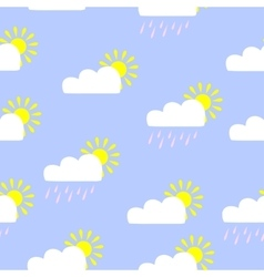 Cute seamless pattern with sun and clouds vector image