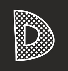 D alphabet letter with white polka dots on black vector