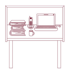 Dark red line contour of desk home office basic vector