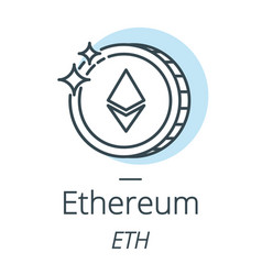 Ethereum cryptocurrency coin line icon of virtual vector
