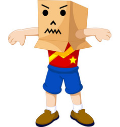 Funny boy cartoon playing cardboard vector