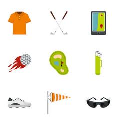 golf market icons set flat style vector image