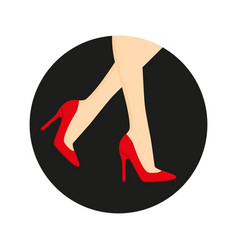 high heel shoes on the legs vector image