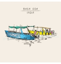 India baga beach sketch drawing with two boats vector