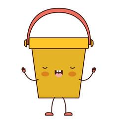 kawaii cartoon bucket with handle in colorful vector image