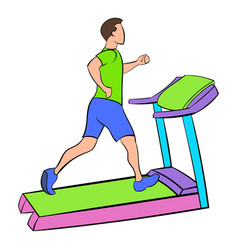 Man running on a treadmil icon cartoon vector