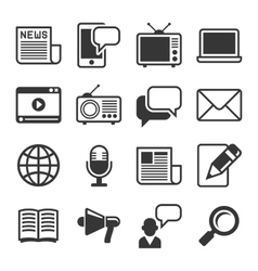 Media News Icon Set on White Background vector image vector image