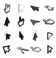 Mouse pointer icons set isometric 3d style vector