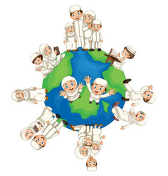 muslim people around the world vector image vector image