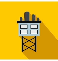 Oil platform flat icon vector