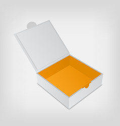 Open packaging box mockup Gray square and orange vector image