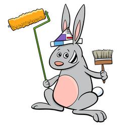 Rabbit painter cartoon character vector