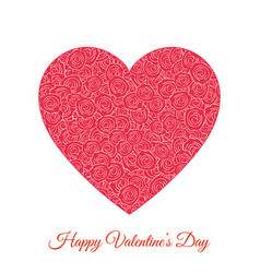 red floral heart happy valentines day vector image vector image