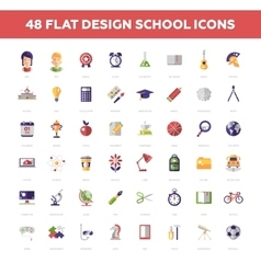 School and Education flat design icons circle vector image vector image