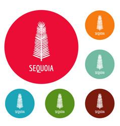 Sequoia leaf icons circle set vector