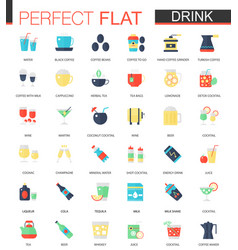 Set of flat tea coffee alcohol drinks vector