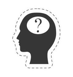 Silhouette head question mark image vector