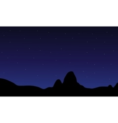 Silhouette of hill and star vector