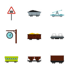 Train railway underground icons set flat style vector