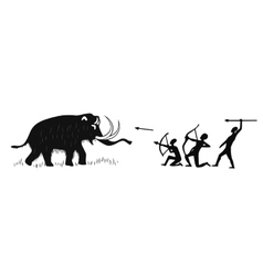 Tribal people hunting for mammoth vector