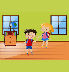 two students in classroom vector image