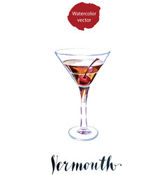 vermouth with cherry vector image vector image