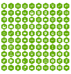 100 e-commerce icons hexagon green vector