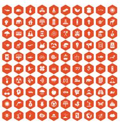 100 eco care icons hexagon orange vector