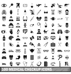 100 medical checkup icons set simple style vector