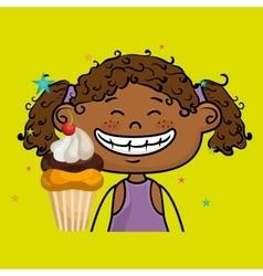 Girl cup cake dessert vector