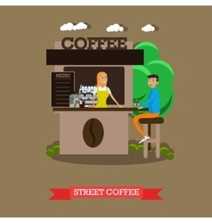 Street coffee shop concept banner takeaway vector