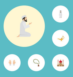 Flat icons palm minaret bead and other vector