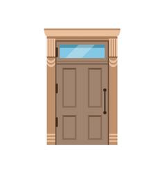 Classic wooden front door to house closed elegant vector