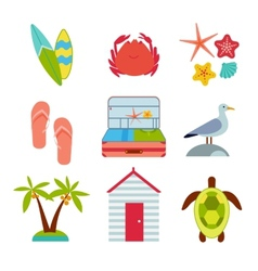 Icons of travel summer in the flat style vector