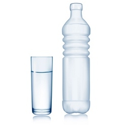 glass and water bottle vector image
