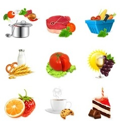 Food concepts isolated set vector image