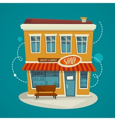 Shop building front view cartoon vector
