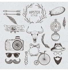 Collection of the monochrome objects vector