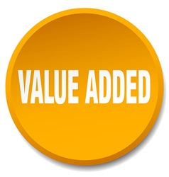 Value added orange round flat isolated push button vector