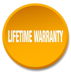 Lifetime warranty orange round flat isolated push vector