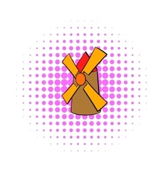 Windmill icon in comics style vector