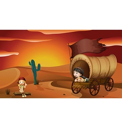 A girl lying inside the carriage and a girl vector image vector image