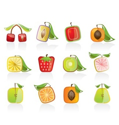 abstract square fruit icons vector image vector image