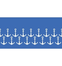 Anchors blue and white horizontal border seamless vector