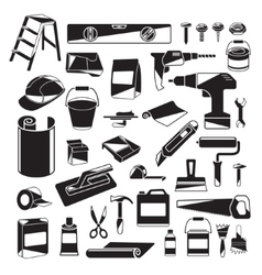 Black and White Design Elements of Home Repair vector image