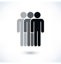 Black three people man figure with drop shadow vector