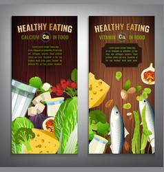 Calcium in food banners vector
